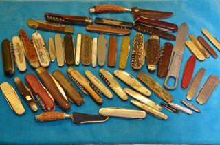 Großes Konvolut Posten Alter Taschenmesser Sammlermesser 45 Stück Bild