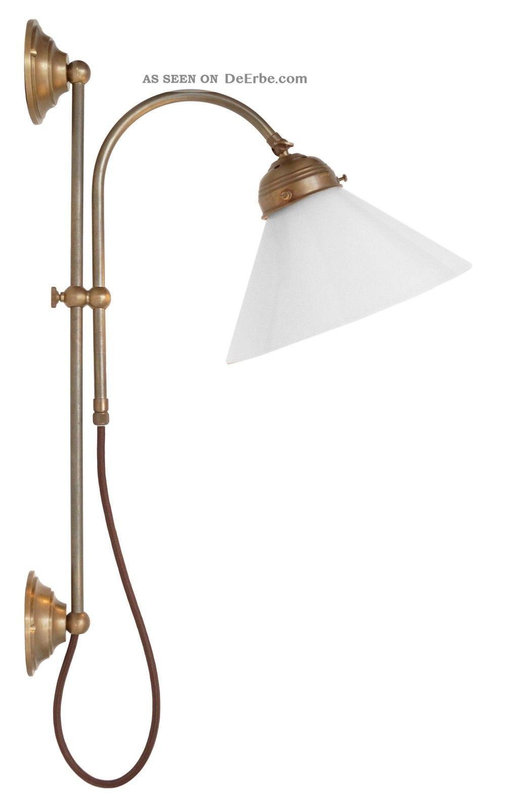 Klassische Messing Wandleuchte Wandlampe Opalglas Berlin 2 Stk.  Verfügbar Gefertigt nach 1945 Bild