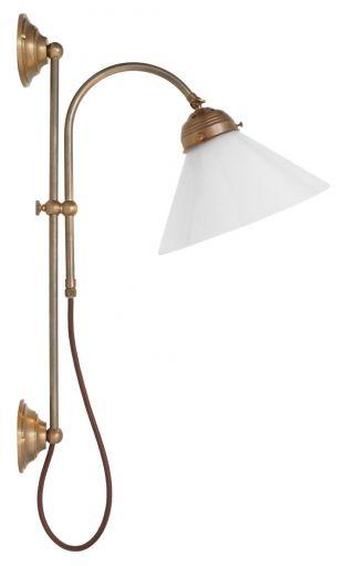 Klassische Messing Wandleuchte Wandlampe Opalglas Berlin 2 Stk.  Verfügbar Bild