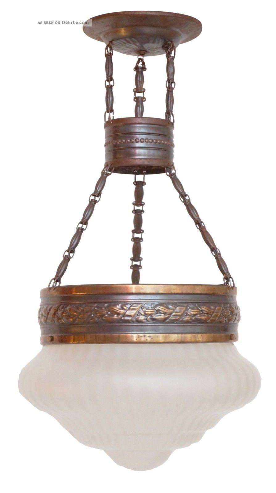 Jugendstil Hängelampe Deckenleuchte Um 1910 Flurlaterne Flurlampe Antike Originale vor 1945 Bild
