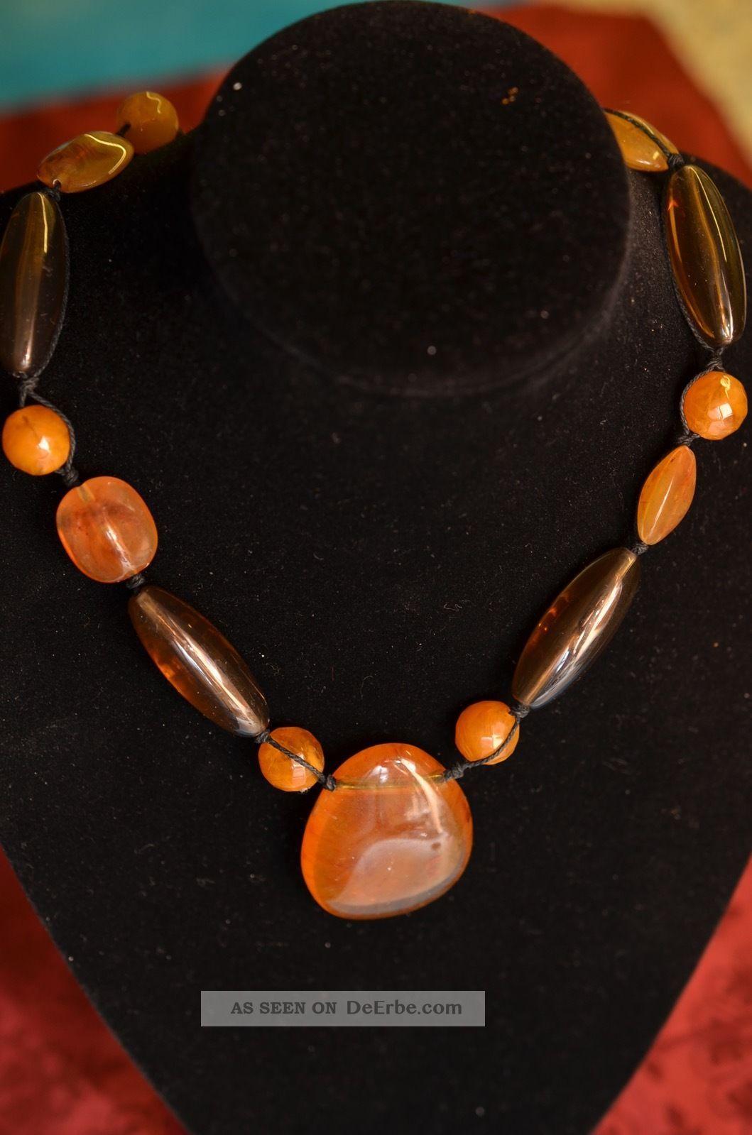Alte Interessante Bernsteinfarbene Halskette Ketten Bild