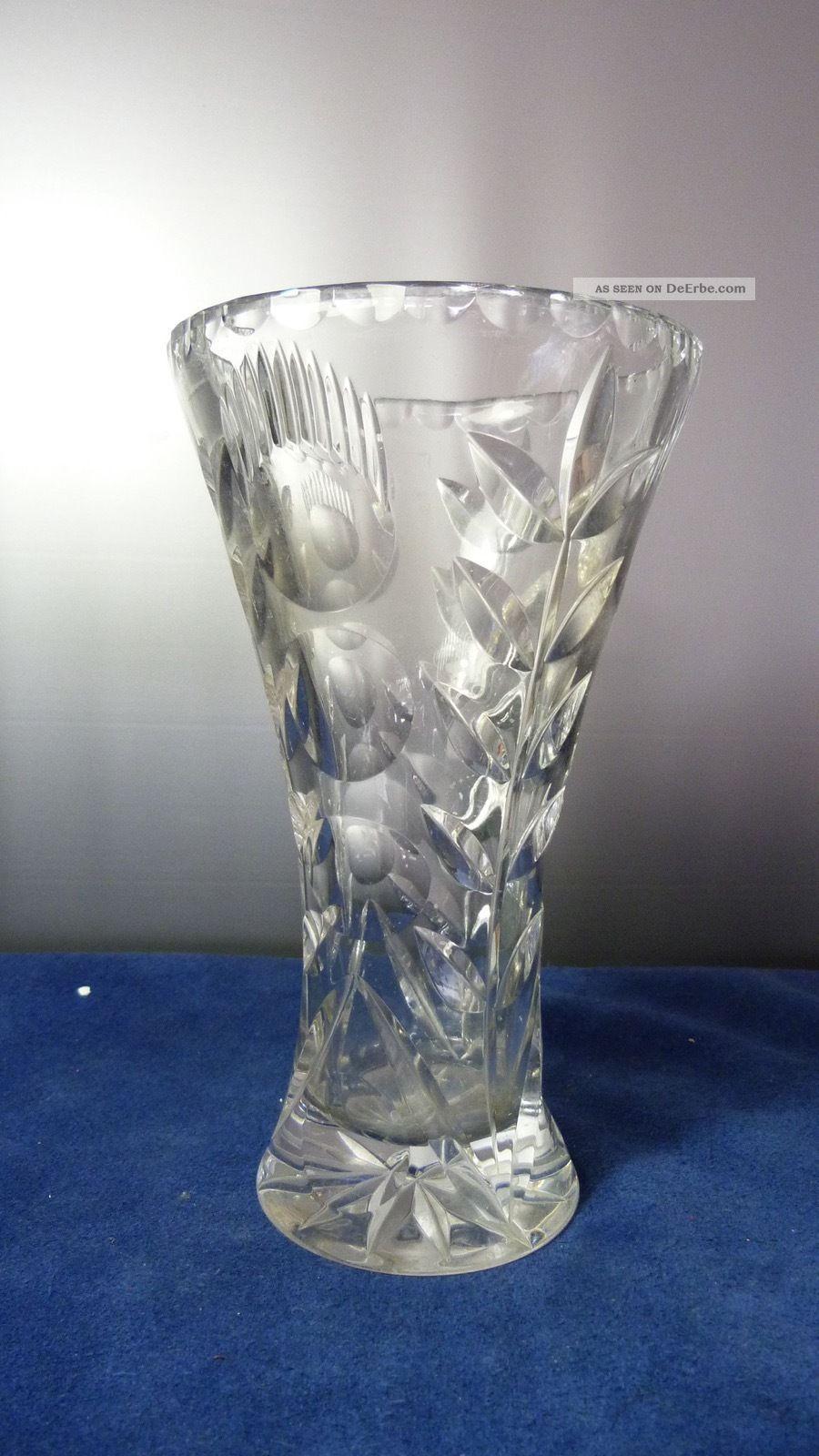 Alte Kristallglas Vase Germany - H 22,  0 X Dm 13,  0 Cm - Und Sehr Edel N1 Kristall Bild