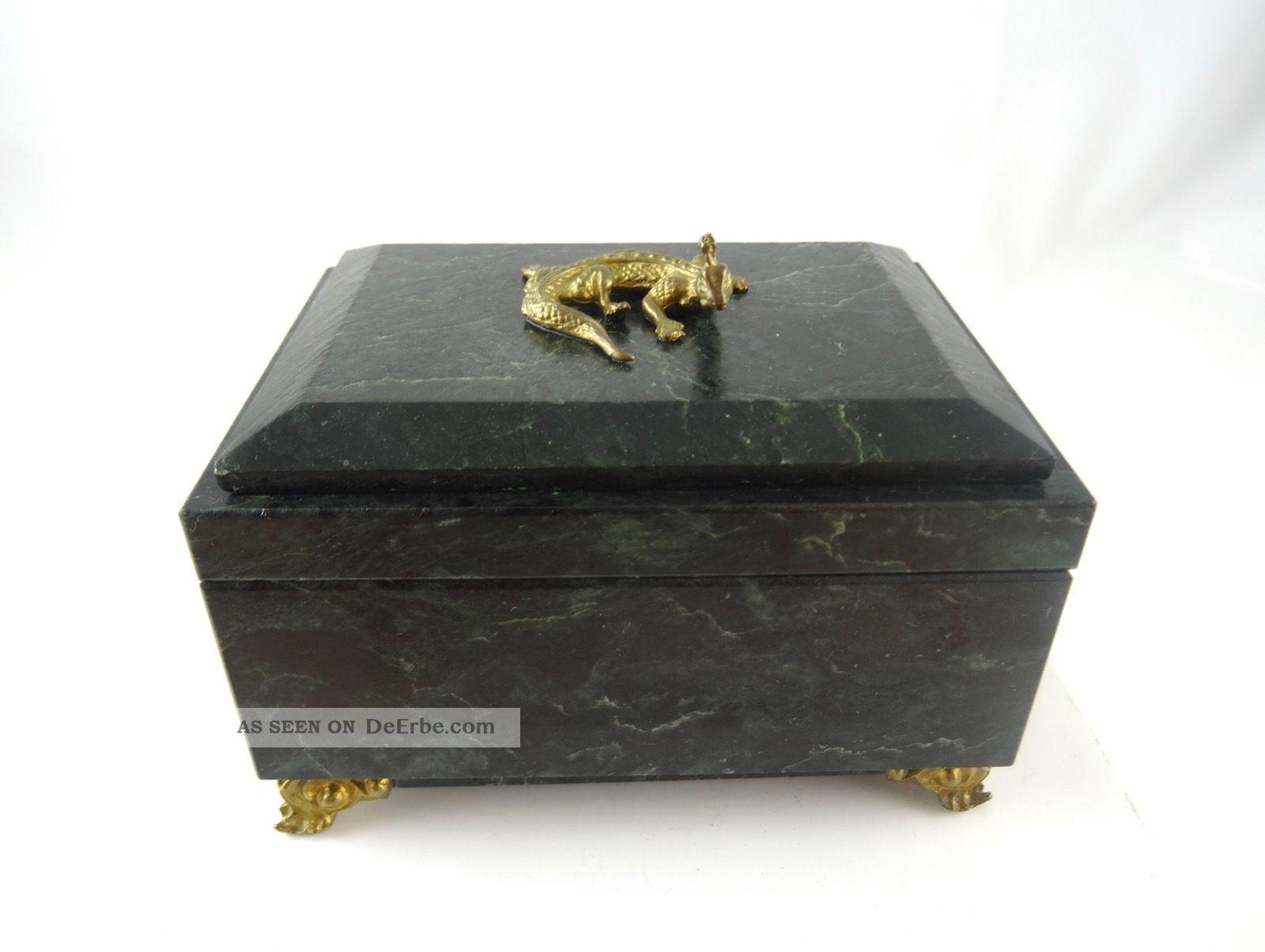 Seltene GrÜne Marmor Art Deco Schmuck Schatulle Mit Bronze Echse Antik KÄstchen 1920-1949, Art Déco Bild