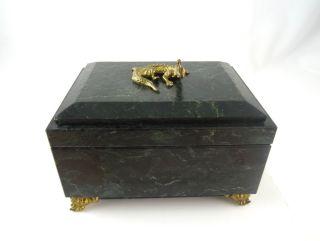 Seltene GrÜne Marmor Art Deco Schmuck Schatulle Mit Bronze Echse Antik KÄstchen Bild