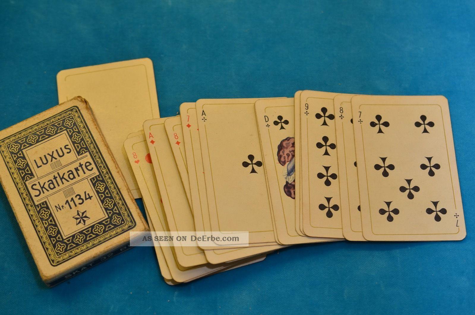 Alte Luxus Skatkarte Nr.  1134 Kartenspiel Aus Den 40er Jahren Gefertigt vor 1945 Bild