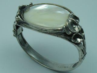 Perli Prächtige Große Massive Designer Armspange Aus 925 Silber Mit Perlmutt Bild