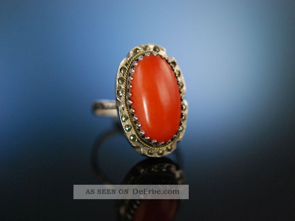 Italien Um 1920 Coral Ring Grosser Mittelmeer Korallen Ring Silber Markasiten Ringe Bild