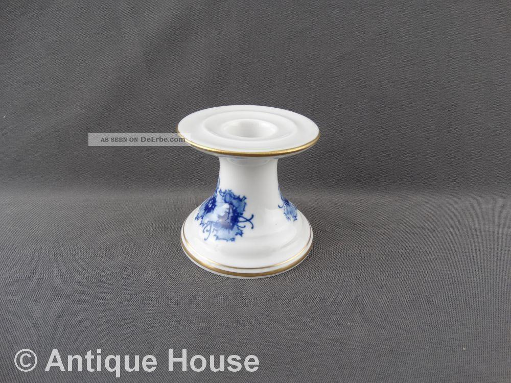 Meissen Kerzenhalter Tischleuchter Blaue Blume Mit Gold Meissen Bild