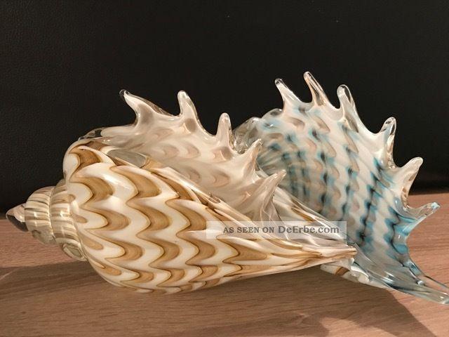 Muranoglas Stil Glaskunst Muschel Paar Schwer 4,  5 Kg 30 Cm Glas & Kristall Bild