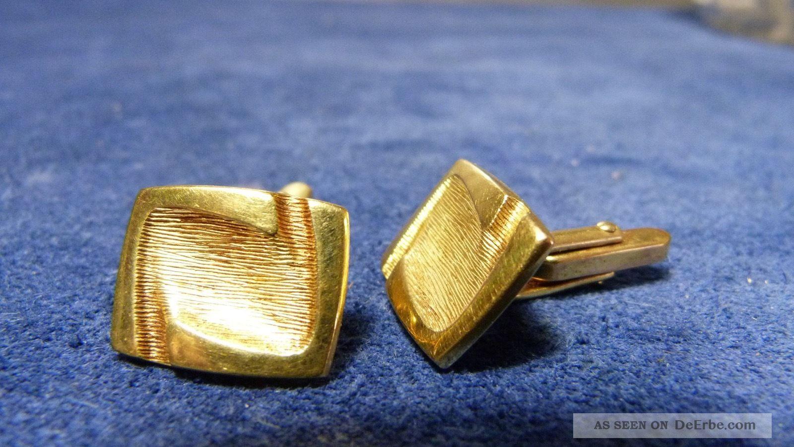 Alte Manschettenknöpfe - Ca.  60er Jahre - Amerikaner Gold - Gestempelt Schmuck & Accessoires Bild