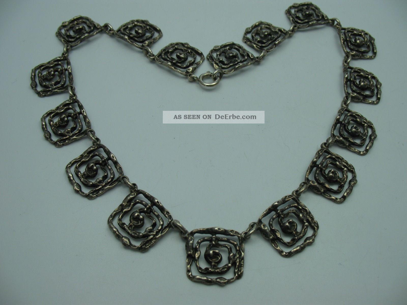 Sehr Schöne 60er 70er Jahre Designer Halskette Aus 925 Sterling Silber Ketten Bild