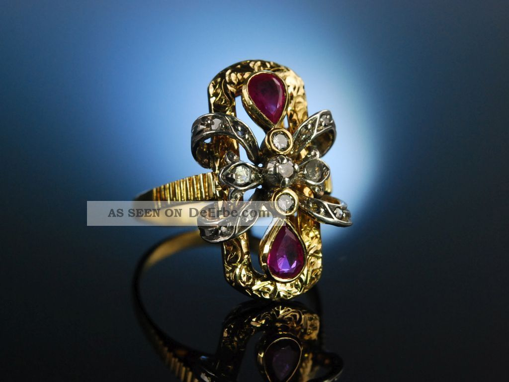 Aparter Antiker Cocktail Ring Um 1910 Gold 750 Platin Rubin Tropfen Diamanten Ringe Bild