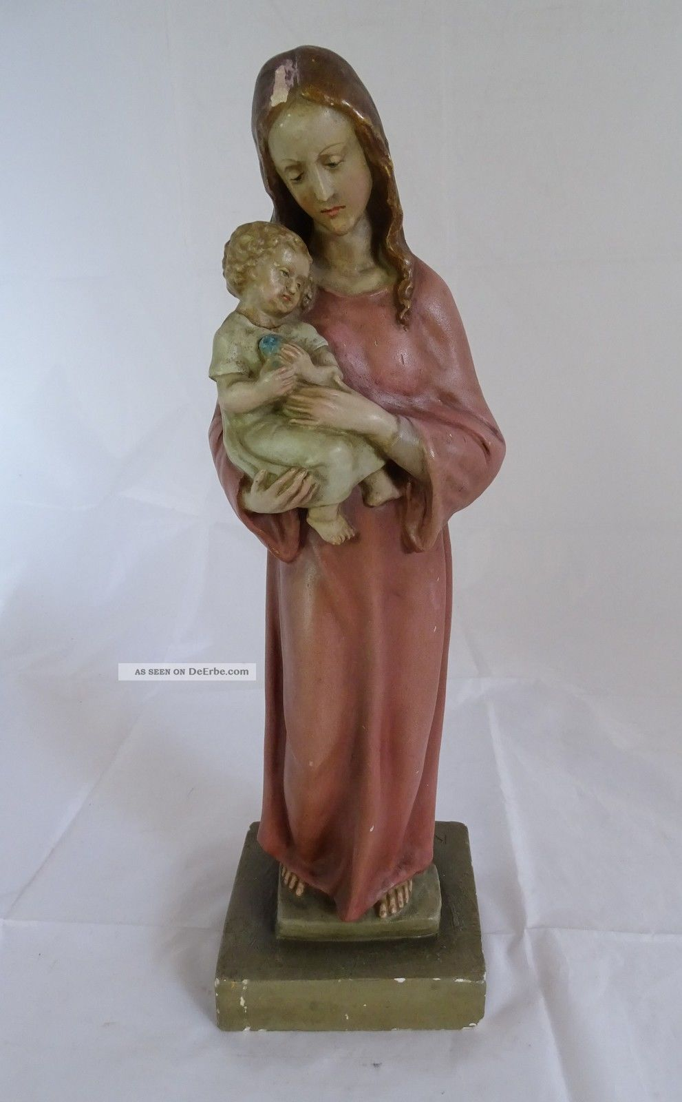 Antike Gips Plastik Madonna Mit Kind Hochwertige Handarbeit Sakrale Skulptur Skulpturen & Kruzifixe Bild