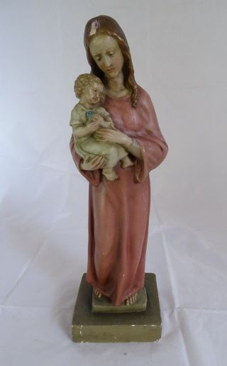 Antike Gips Plastik Madonna Mit Kind Hochwertige Handarbeit Sakrale Skulptur Bild