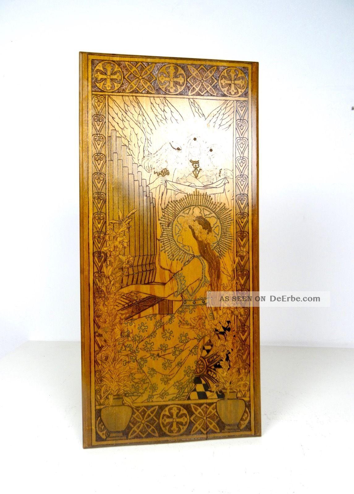Seltenes Jugendstil Brand Malerei Holz Bild GemÄlde Antik Mucha Lautrec Klimt 1890-1919, Jugendstil Bild