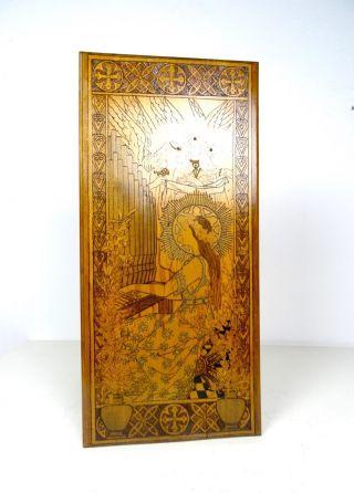 Seltenes Jugendstil Brand Malerei Holz Bild GemÄlde Antik Mucha Lautrec Klimt Bild