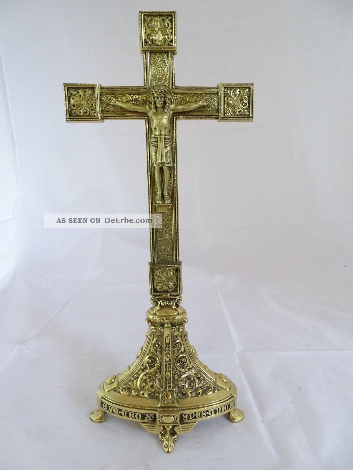 Rarität Kruzifix Inri Ausgefallene Handarbeit Wohl Erhard & Söhne Gmünd Messing 1890-1919, Jugendstil Bild