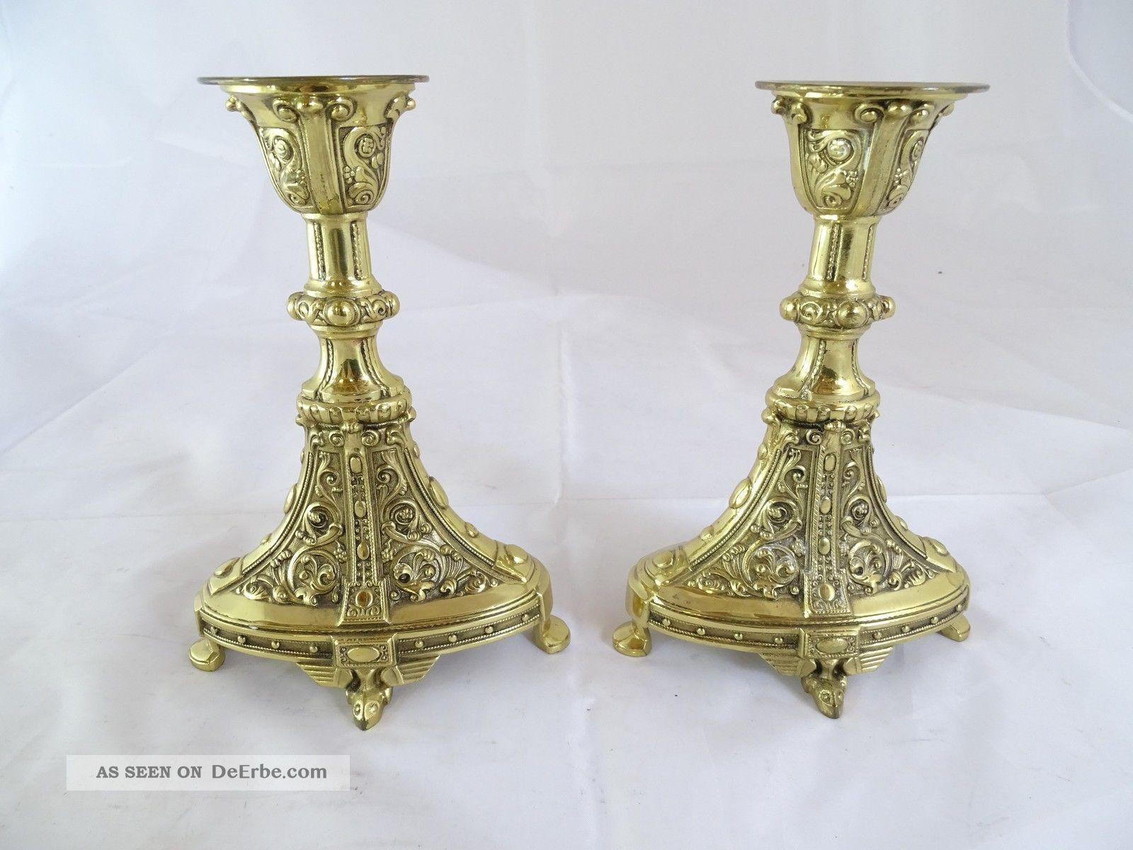 Paar Antike Seltene Kerzenhalter Kandelaber Wohl Erhard & Söhne Gmünd Messing 1890-1919, Jugendstil Bild