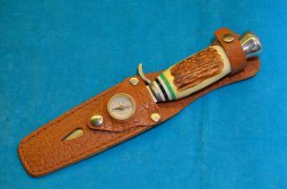 Altes Ddr Jagdmesser Und Lederscheide Mit Kompass Bild