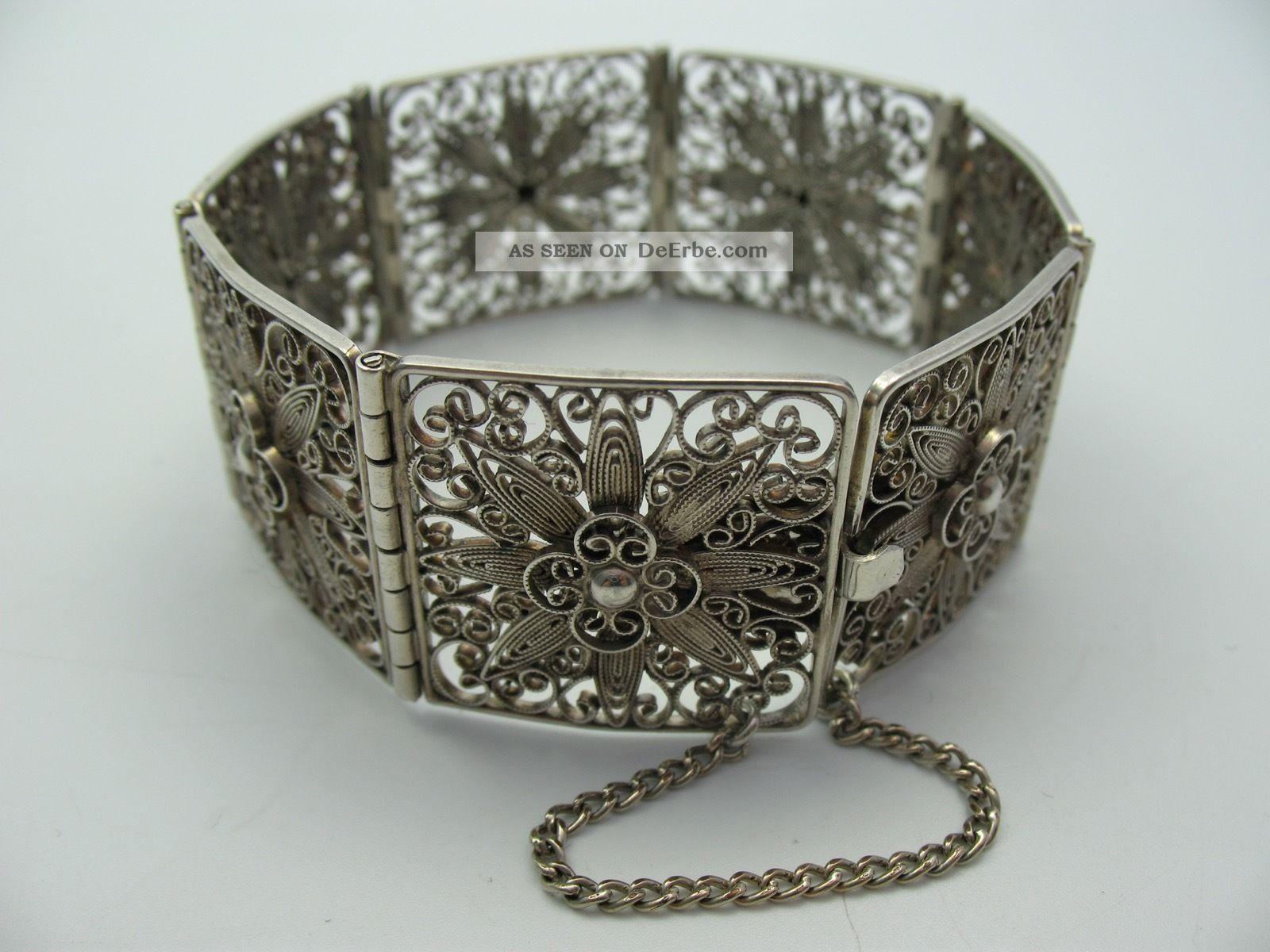 Handarbeit Top Breites Altes Filigranes Armband Aus 835 Silber Schmuck & Accessoires Bild