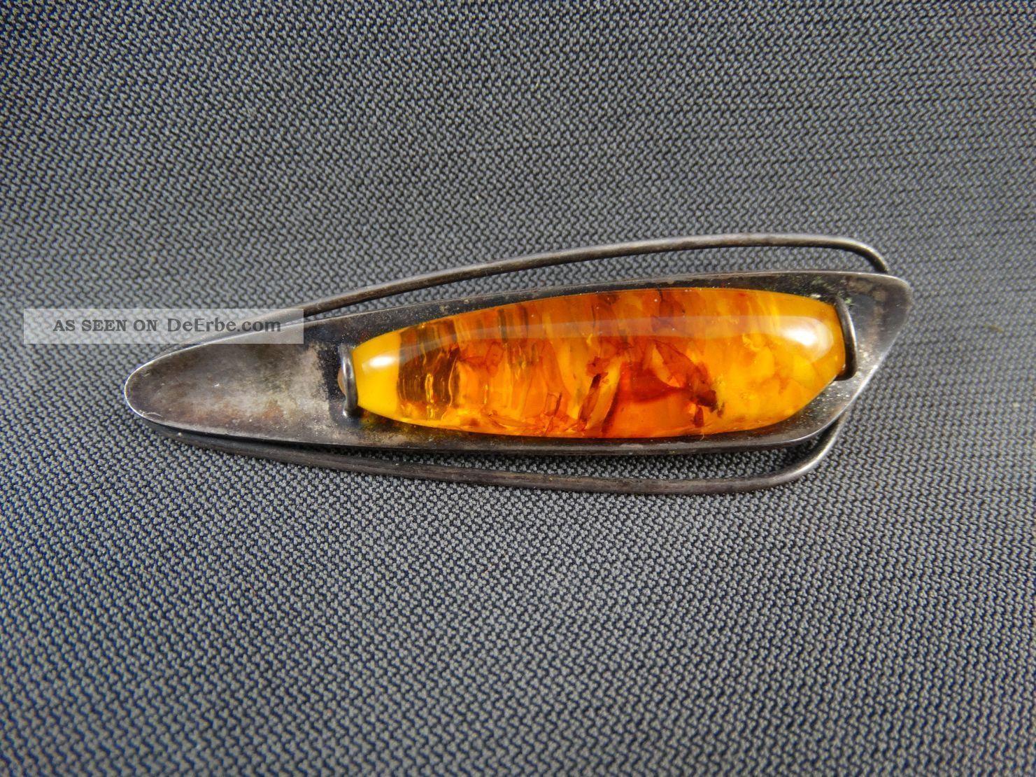 Schmuck Schmuckstück Brosche Bernstein Silber 835 Fischland Broschen Bild