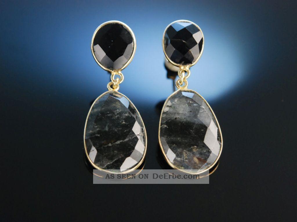 Vivid Grey Earrings Ohrringe Silber 925 Vergoldet Grauquarz Schachbrettschliff Schmuck & Accessoires Bild
