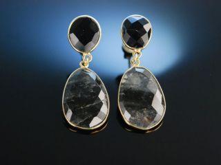 Vivid Grey Earrings Ohrringe Silber 925 Vergoldet Grauquarz Schachbrettschliff Bild