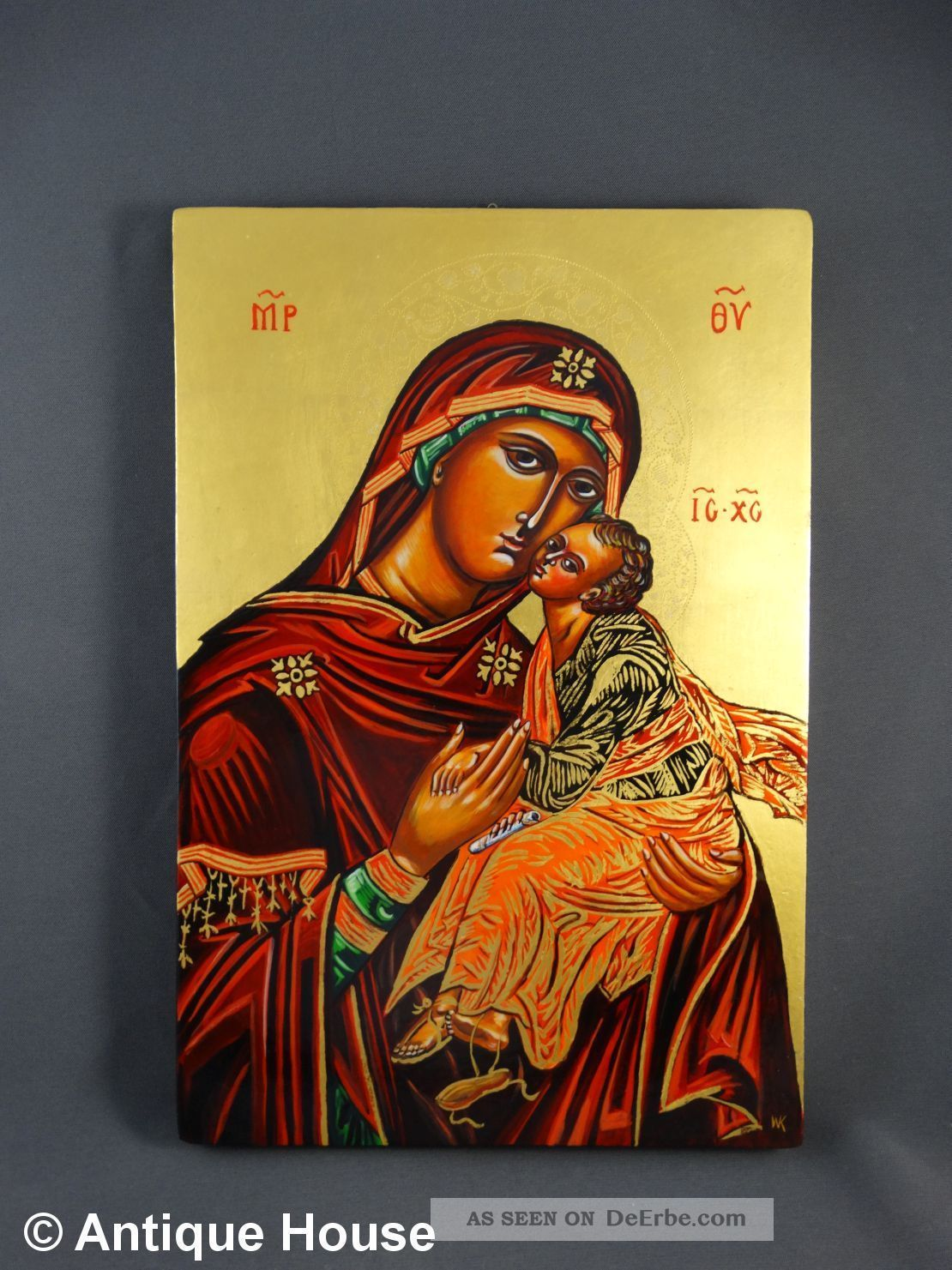 Ikone Heiligenbild Gottesmutter Eleusa Replik Handgemalt Blattgold Ikonen Bild
