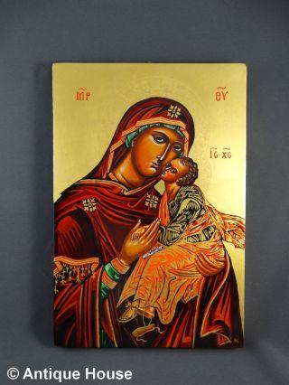 Ikone Heiligenbild Gottesmutter Eleusa Replik Handgemalt Blattgold Bild