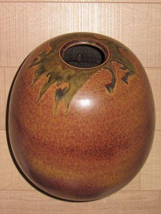 Handgetöpferte Vase Ø 28cm Einzelstück Signiert V.  Künstler Braun Oliv Grün Top Bild