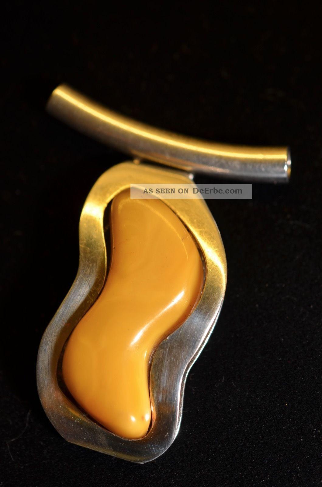 Alter Schöner Designer Bernsteinanhänger Amber Butterscotch Silber 925 Schmuck & Accessoires Bild