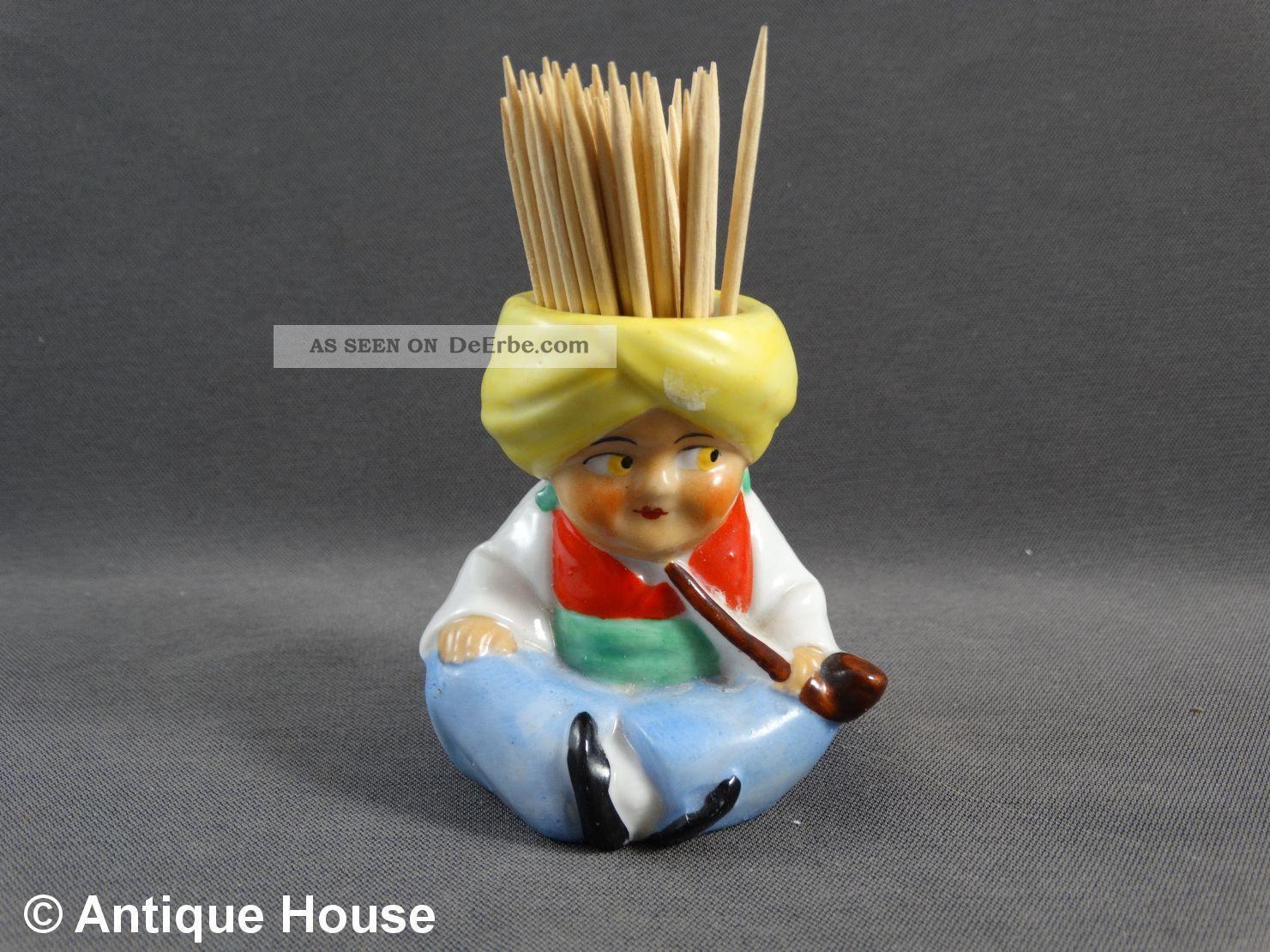 Kleine Porzellanfigur Thüringen Sultan Zahnstocher Becher Nach Form & Funktion Bild