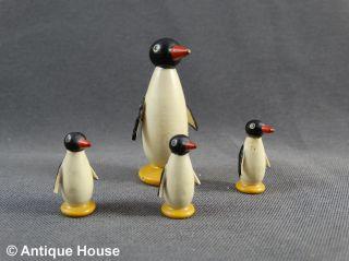 Erzgebirge Volkskunst 4 Kleine Holzfiguren Pinguine - 4,  5 / 2 Cm Bild