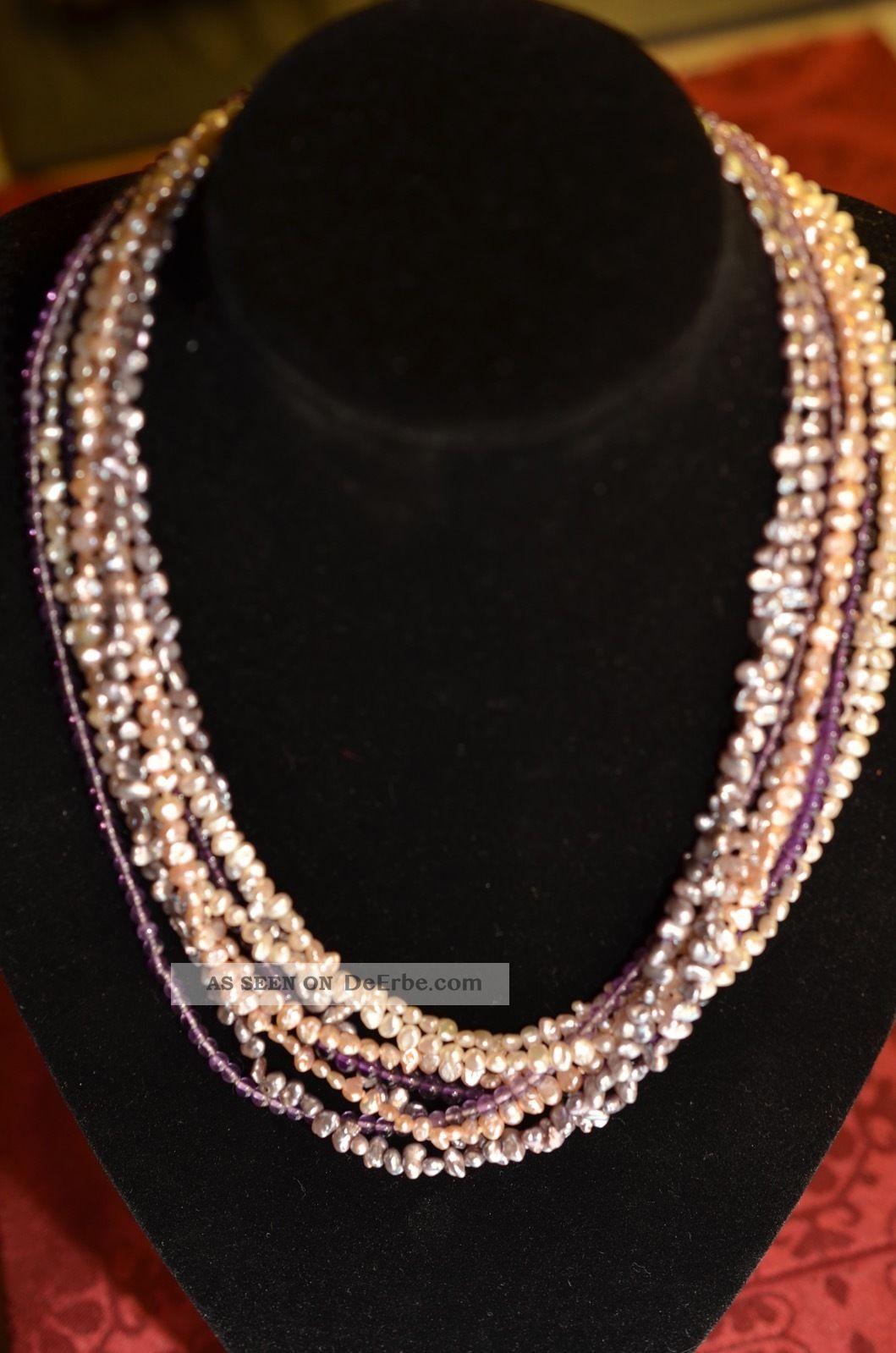 Schöne Echte Achtreihige Mehrfarben Perlenkette Mit Verschluss Weißgold 585 Ketten Bild