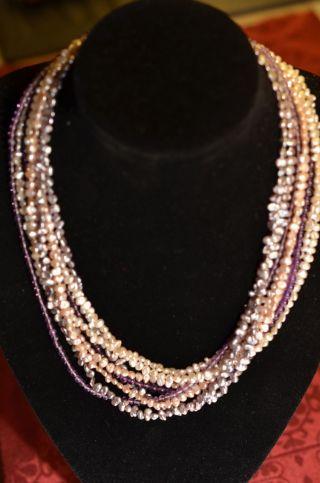 Schöne Echte Achtreihige Mehrfarben Perlenkette Mit Verschluss Weißgold 585 Bild