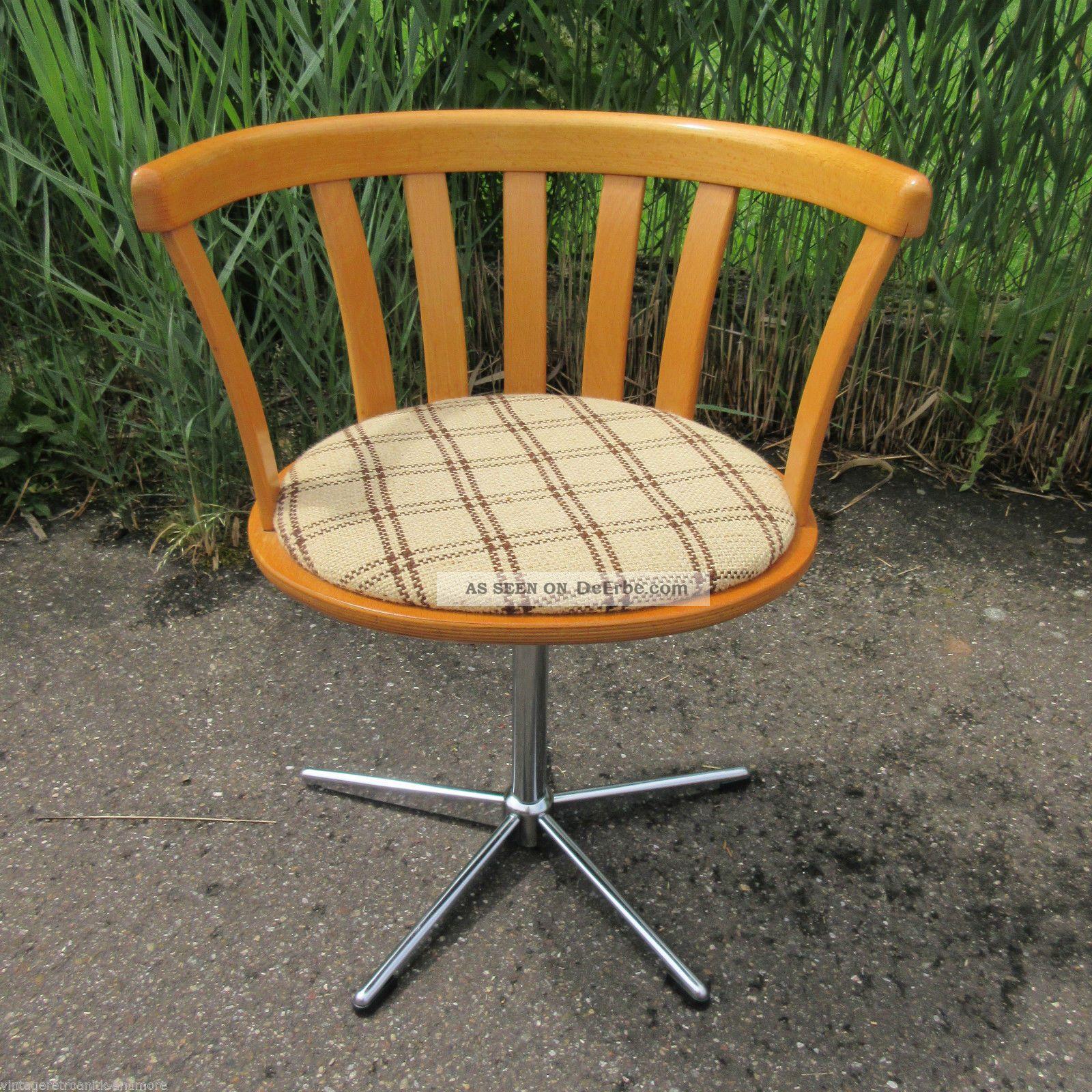 Drehstuhl Schreibtischstuhl 70er Sternfuss Wooden Desk Chair 1970-1979 Bild