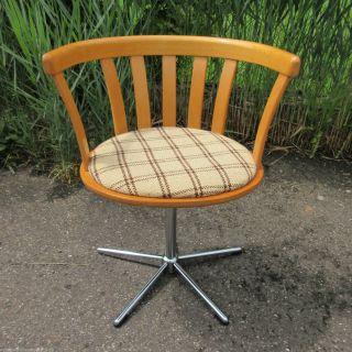 Drehstuhl Schreibtischstuhl 70er Sternfuss Wooden Desk Chair Bild