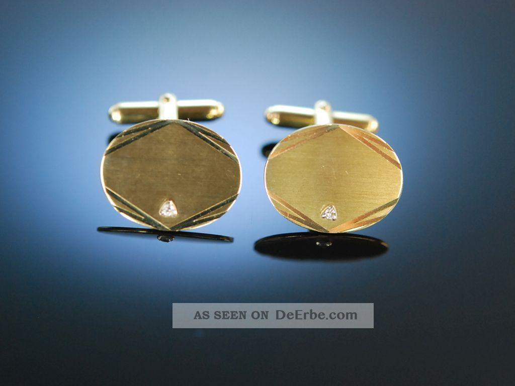 Zum Gravieren Klassische ManschettenknÖpfe Cufflinks Gold 333 Diamanten Schmuck & Accessoires Bild