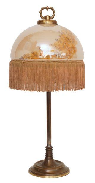 Schöne Jugendstil Schreibtischleuchte Opalglas Messing Bild