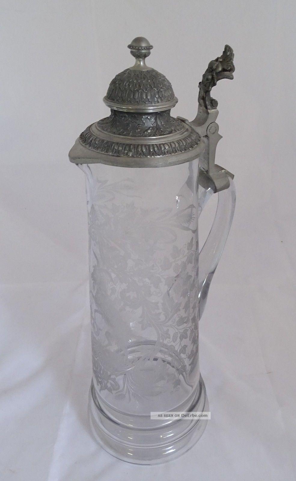 Große Seltene Historismus Schenk Kanne Glas Mit Zinn Montur Sammlerglas Bild