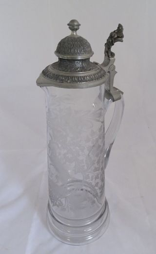 Große Seltene Historismus Schenk Kanne Glas Mit Zinn Montur Bild