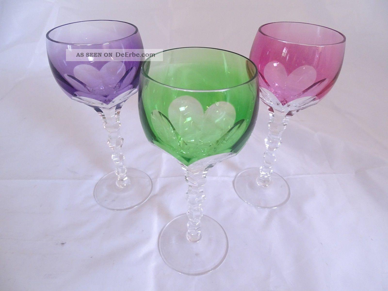 3 Bleikristall Glas Wein Römer Weingläser Vintage Retro Farbig Kristall Bild