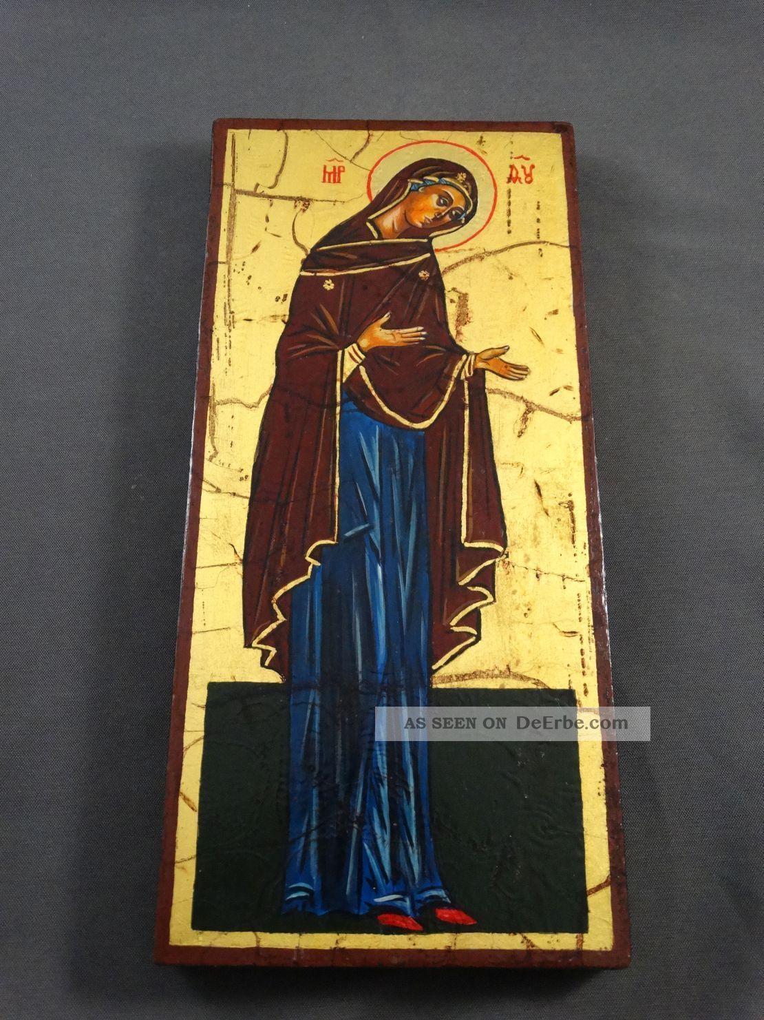 Ikone Icon Heiligenbild Gottesmutter Maria - Fürbitt Reihe - Handgemalt Ikonen Bild