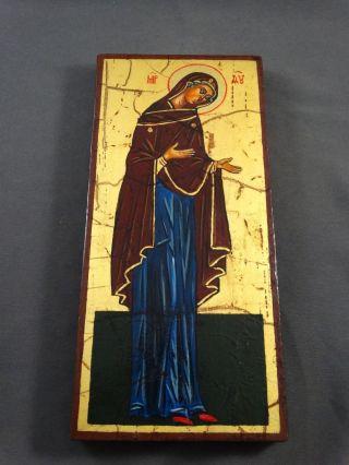 Ikone Icon Heiligenbild Gottesmutter Maria - Fürbitt Reihe - Handgemalt Bild