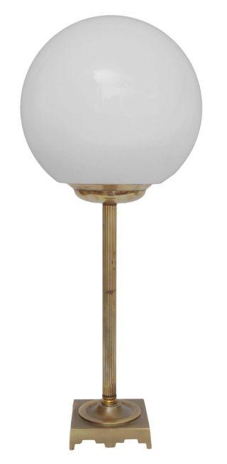 Klassische Art Déco Schreibtischleuchte Tischlampe Kugel Opal Messing Bild