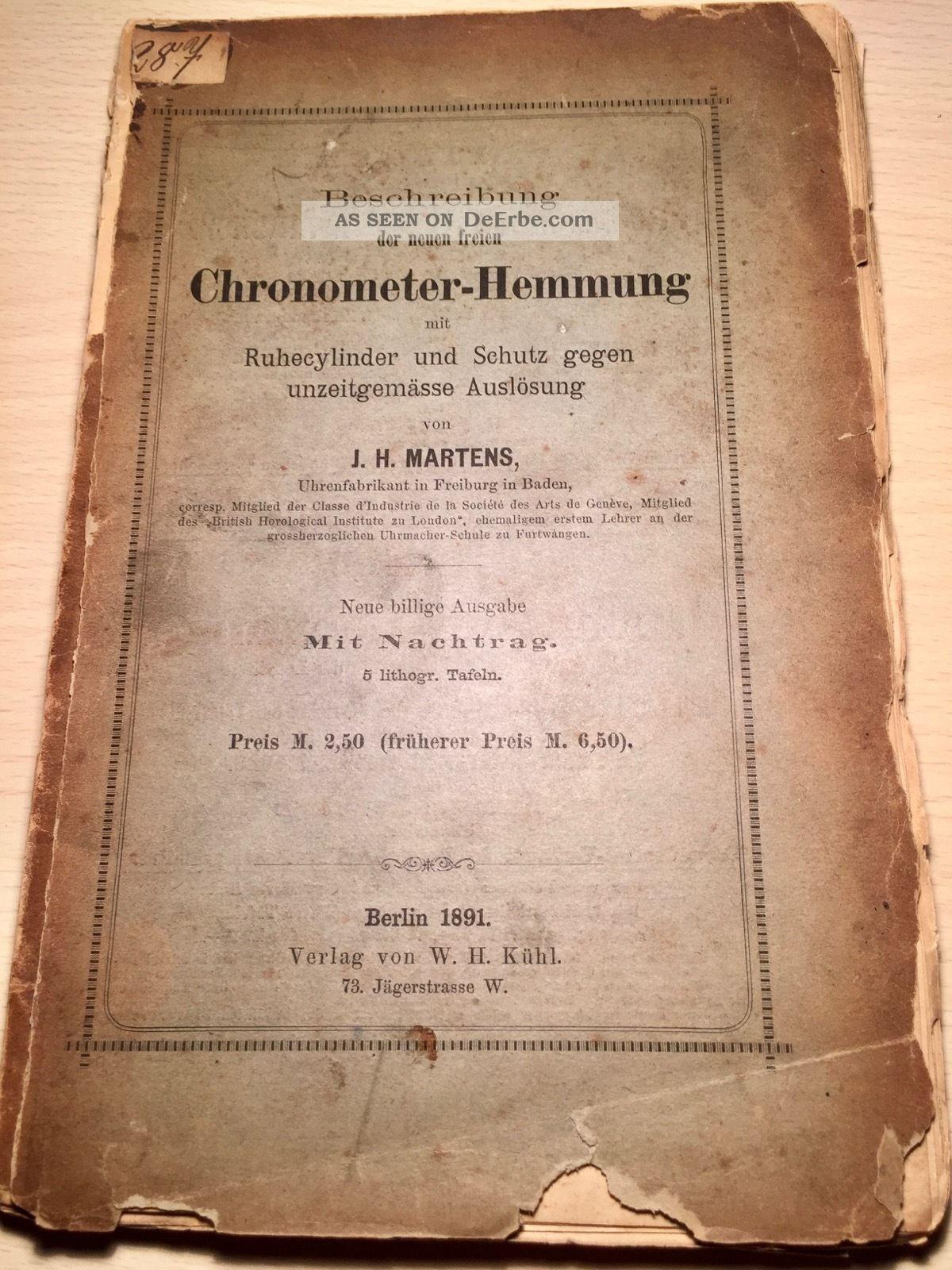 Beschreibung Der Neuen Freien Chronometer Hemmung,  J.  H.  Martens 1891 Alte Berufe Bild
