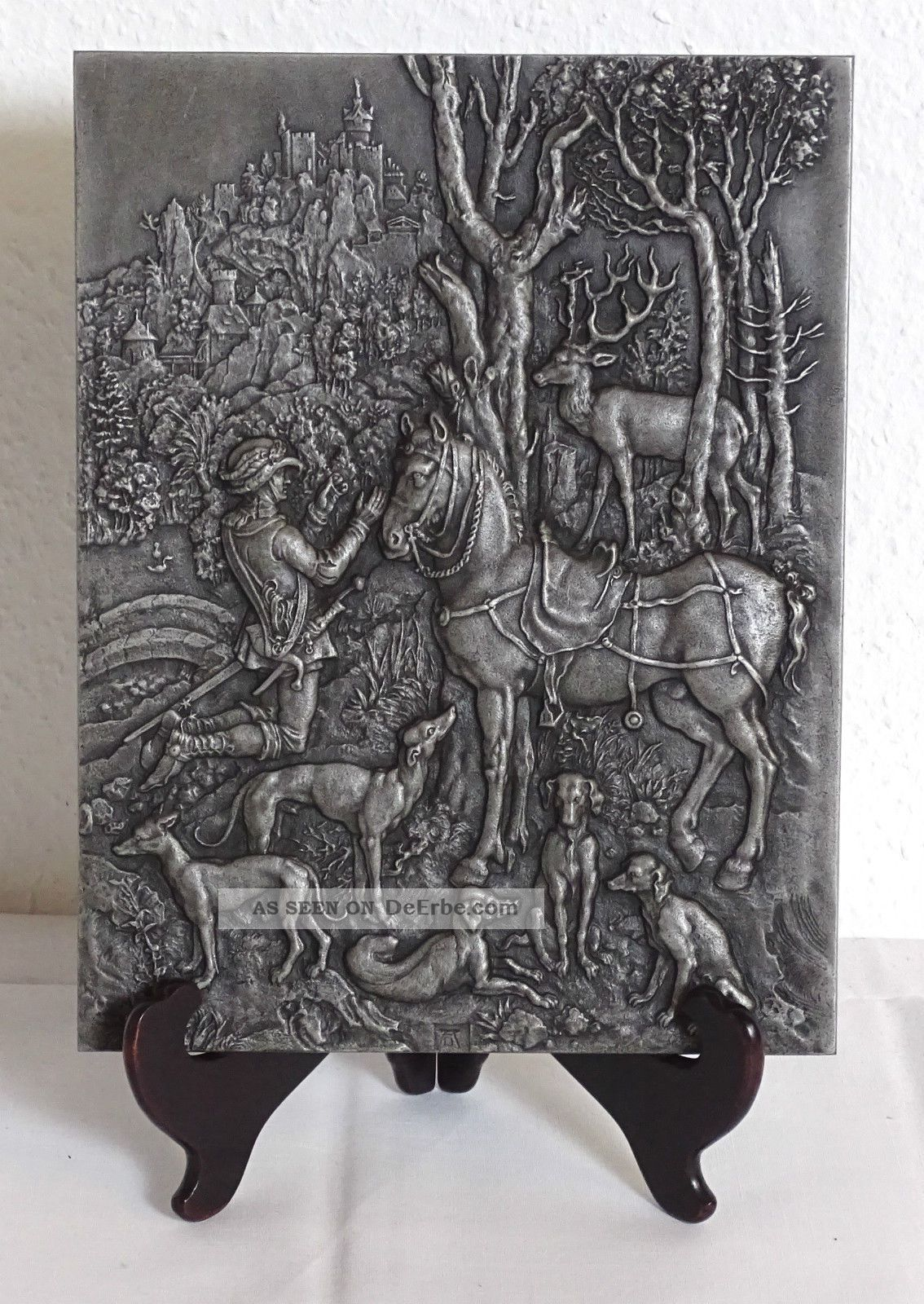 Eisen Relief Heiliger Eustachius Nach Albrecht Dürer Gusseisen Platte Wandplatte Gefertigt nach 1945 Bild