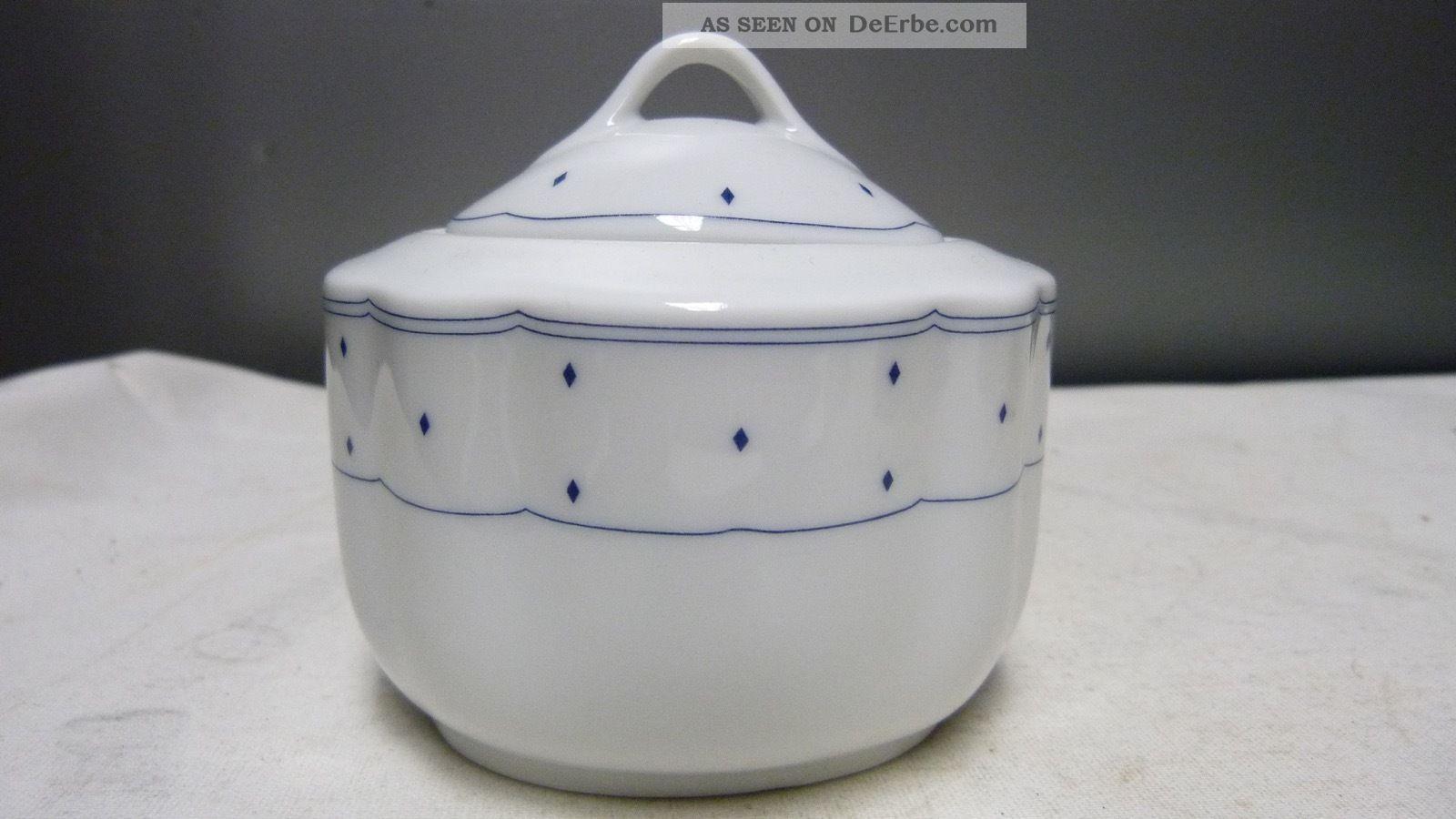 Tcm / Form Marienbad Ingres Weiss Porzellan Blaue Raute - Zuckerdose Mit Deckel Nach Stil & Epoche Bild