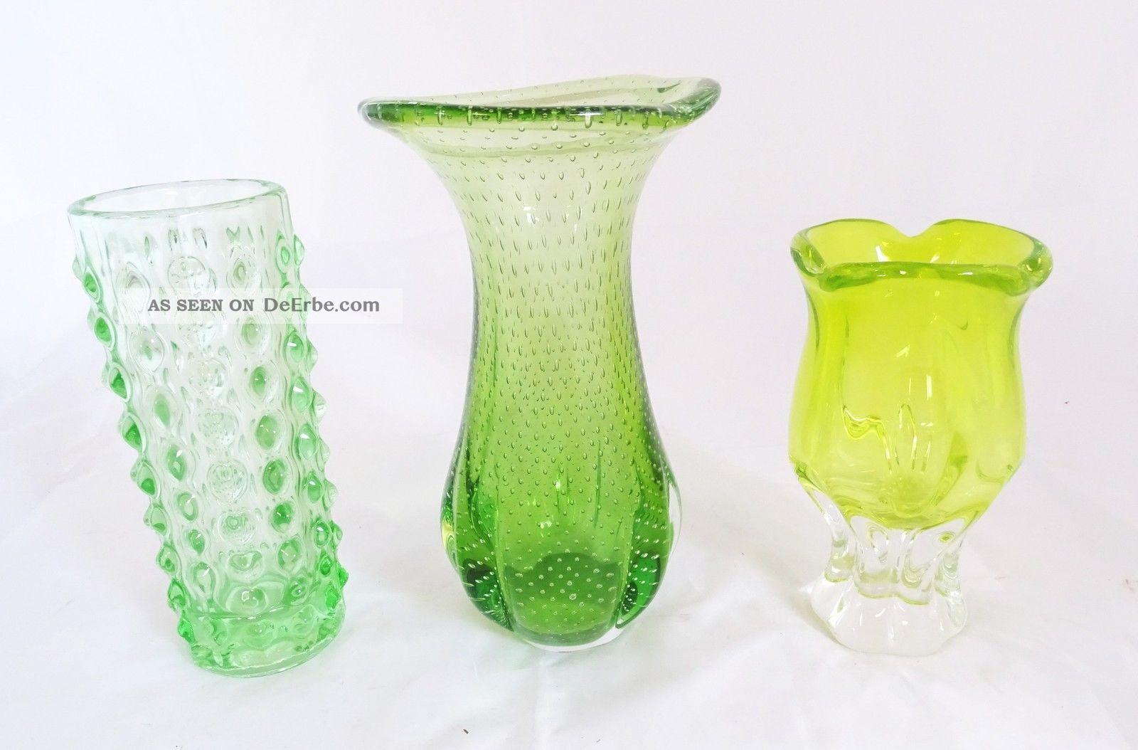 3x Panton Ära 70er Jahre Design Glas Vasen Vase Grün 70s Grüntöne Designerglas 1970-1979 Bild