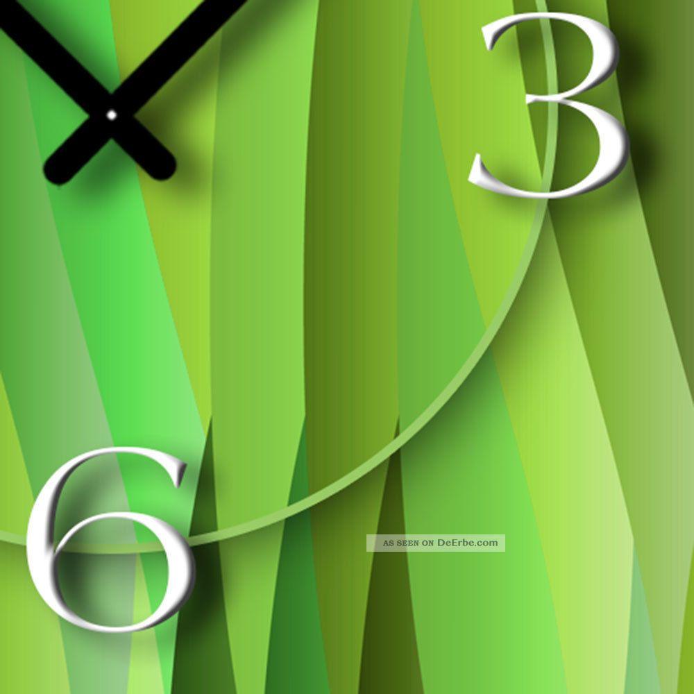 Ando Wohndesign: Abstrakt Grün Lemon Designer Wanduhr Modernes Wanduhren